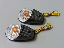 Motorcycle Turn Signals Blinker Flush Mount Clear/Carbon