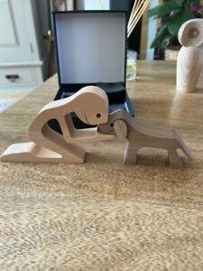 Quality Long Wood Dog & Kneeling Man - Super Cute - Cute Decoration, Figurine 40