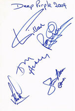 """Deep Purple genuine autographs 8""""x12"""" card signed In Person in Montreux 2004"""