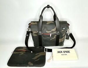 Jack Spade Men's Camo Waxwear Survey Bag With Matching Tech Sleeve And Bag Charm