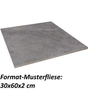 Muster Rocky 60x60x2 cm grau matt Schieferoptik Terrassenplatte R11 1.Wahl