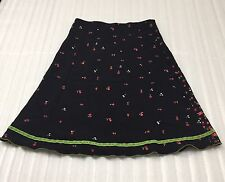 Eberjay Junior's Size Small Black Skirt with Flowers and Green Stripe