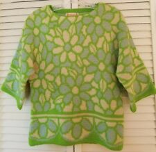 Catalina Inc Jacquard Womens Sweater Boatneck Floral Green Vintage Wool Size 38