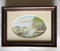 Original watercolour by Stanley C Watts, cows at a river country scene