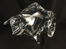 LARGE NANCY DAUM CRYSTAL BULL BISON BUFFALO GLASS FIGURINE PAPERWEIGHT EXC COND