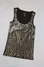 Michael Kors Women Petite Brown Metallic Gold Sequin Paillettes Tank Top Sz S/P