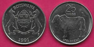 BOTSWANA 25 THEBE 1991 UNC ZEBU LEFT,VALUE ABOVE,NATIONAL ARMS,DATE BELOW