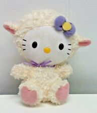 "Hello Kitty 7"" Lamb Plush Doll Ty Sanrio Shaggy Kitten Cat in Lamby Suit Easter"
