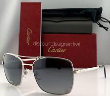 Cartier Santos Horizon Sunglasses ESW00136 Silver Metal Gray Polarized Lens NEW