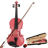 4/4 Full Size Natural Acoustic Violin Fiddle with Case Bow Rosin Pink Color Gift