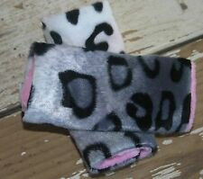 infant/toddler seat strap covers in snow leopard and baby pink minky