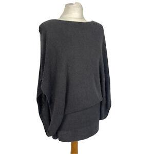 Fenn Wright Manson Grey Batwing Mini Skirt Overlay Jumper Dress Size 12