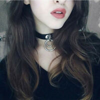 Classic Punk Rock Dark Harajuku Double O RING Leather Collar Choker Necklace CHI