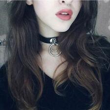 Classic Punk Rock Dark Harajuku Double O RING Leather Collar Choker Necklace CHI