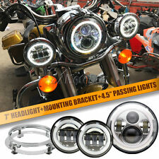 "7"" LED Halo Projector Headlight + Passing Lights bracket For Harley Road King"
