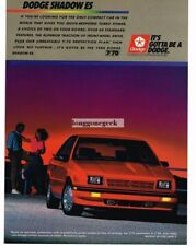 1988 Dodge Shadow ES Red Vintage Print Ad