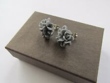Handmade Unusual Pretty Grey Petal Rose Flower Stud Type Earrings - Gift Boxed