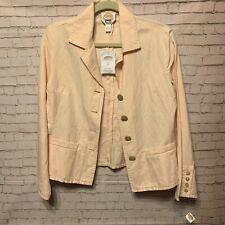 Talbots Women's Blazer Jacket Pink Irish Linen Notch Collar Work Pockets Size 8