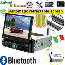 1 DIN Autoradio Stereo Android 8.0 CD DVD WIFI GPS Navi FM Schermo a scomparsa