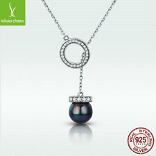 925 Sterling Silver Necklace Circle Black Pearl Pendant LadyStyle Party Chain