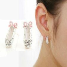 1 Pair Ballet Shoes Pink Bowknot Crystal Full Rhinestone Stud Jewelry Earrings T