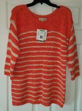 $84 NWT Jones New York Sport Womens Tunic Sweater Coral / Sand Plus Size 0X