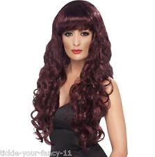 Womens Girls Maroon Siren Wigs 80's Glamour Fancy Dress Outfit Wig Wonder Woman