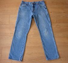 Wrangler Vintage Mens Straight Leg Faded Blue Jeans Measured Size W34 L30