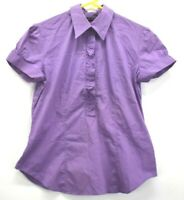 New York & Company Women's Large Stretch Cotton Short Sleeve Ruffle Front Shirt