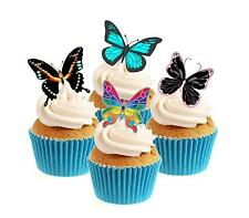 Novelty Butterfly Mix 12 Edible Stand Up wafer paper cake toppers birthday