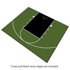 30ft x 25ft Outdoor Basketball Half Court Kit-Lines and Edges Includ-Green/Black