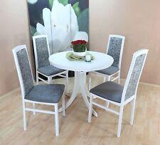 Essgruppe 5-tlg. Auszugtisch rund Stühle Tisch Esstisch Farbe: Weiß/Graphit