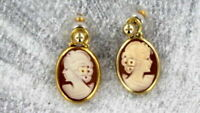 Vintage Antique Shell Cameo Earrings in 14kt Rolled Gold