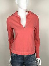 Eddie Bauer 100% Cotton Knit Top Hooded One Button V Neck Red Size Medium