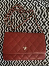 Chanel Red Caviar Wallet On Chain Bag Woc Silver receipt/card/dustbag/box