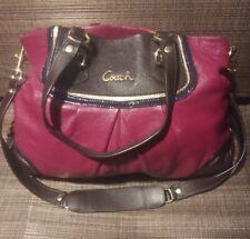 Coach Ashley F17096 Leather Beet Red Shoulder Bag Satchel Purse