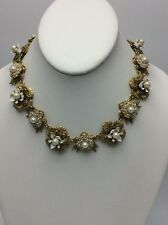 $250 Marchesa fauxpearl & Austrian Crystal floral  Statement Necklace MC307A