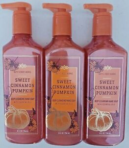 3 Bath & Body Works SWEET CINNAMON PUMPKIN Deep Cleansing Hand Soap 8 FL OZ