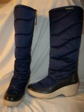 Vintage DIADORA 70's Navy Blue Fabric & Leather Wedge Heel Lined Snow Boots 37 A