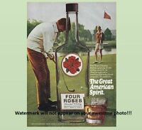 Vintage Four Roses Bourbon Whiskey PHOTO Art Advertisement Golf Bottle Ad Sign