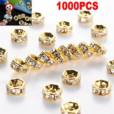 100pcs Silver Gold Crystal Rhinestone Rondelle Spacer Beads DIY 6mm 8mm New LE