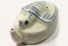 Antique 19thC China Blue White Bat Turtle Style Porcelain Ink Well Water Dropper
