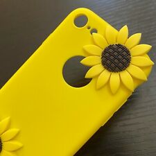 For iPhone 7 / iPhone 8 - SOFT SILICONE RUBBER CASE COVER 3D YELLOW SUNFLOWERS