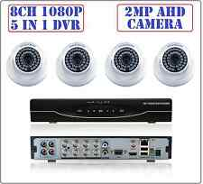 8CH  2MP 1080P 5 in 1 DVR, 2MP 1080P AHD CCTV Security Camera System Dome Kit