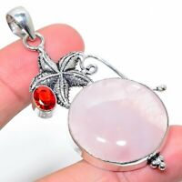 "Wedding Gift Rose Quartz Garnet Gemstone Handmade Ethnic Pendant 2.60"" VS-1516"