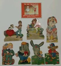VALENTINES DAY Vintage card lot. (8) Antique Mechanical, Dogs, Elephant, Hearts!