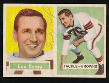 1957 Topps Football #28 LOU GROZA (Cleveland Browns) *AUTOGRAPHED* d.2000