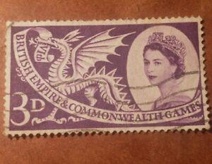 GM113 Great Britain Elizabeth II 3D 1957 Commonwealth Games USED STAMP