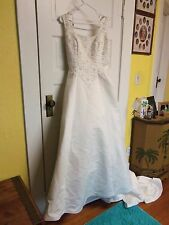 Alfred Angelo Wedding BEAD/SEQUIN FLOWERS SIZE 10 NWT GORGEOUS! STYLE 1266