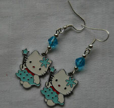 Handmade silver plated Hello Kitty earrings enamel blue crystals free stoppers